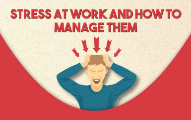 Infographic on stress at work and how to manage them